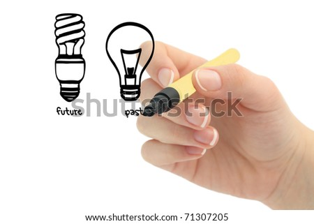 Energy Saving Light Bulb and Incandescent Bulb - stock photo
