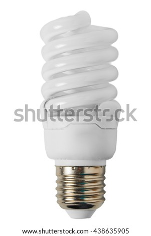 Energy saving light bulb in the form of a spiral close-up - stock photo