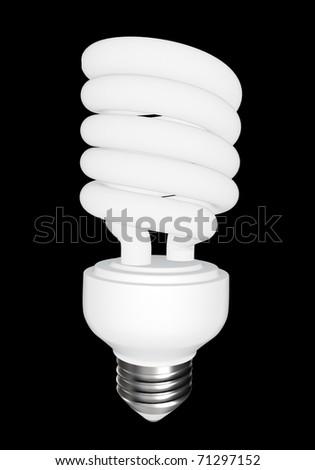 Energy saving light bulb - isolated on black background - stock photo