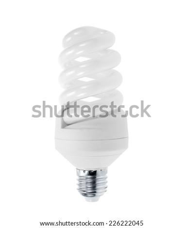 Energy saving light bulb, isolated on white - stock photo