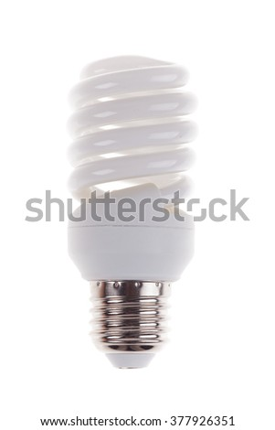 energy saving light bulb isolated on white background - stock photo