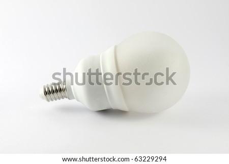 Energy saving light bulb. Isolated on white background. - stock photo