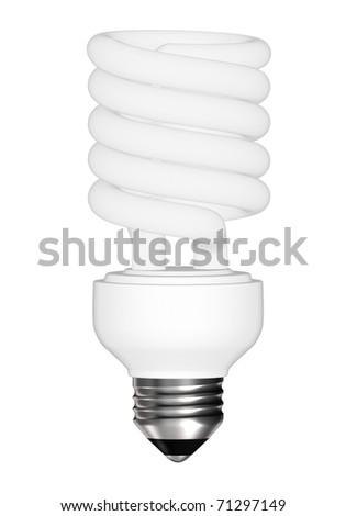 Energy saving light bulb - isolated on white background - stock photo