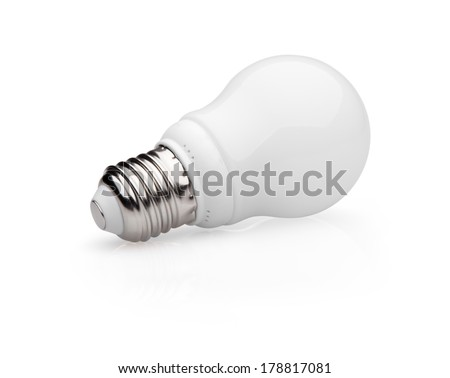 Energy saving light bulb isolated on white background with  clipping path - stock photo