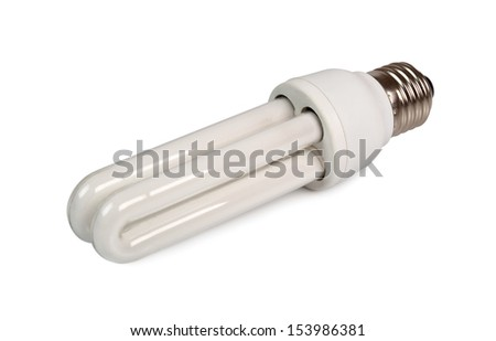 Energy Saving Light Bulb. Lights-U Lamp. Isolated with clipping path. - stock photo