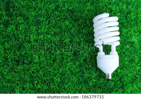 Energy saving light bulb on green grass background - stock photo
