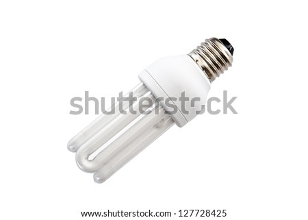 Energy saving light bulb on white background isolated - stock photo