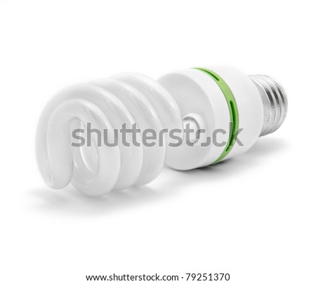 Energy saving light bulb with green line - stock photo