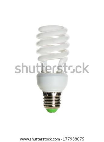 Energy saving light isolated on white background - stock photo