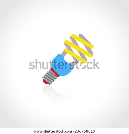 Energy saving lightbulb flat icon isolated on white background  illustration - stock photo