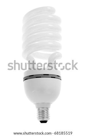 energy saving modern light bulb isolated on white - stock photo