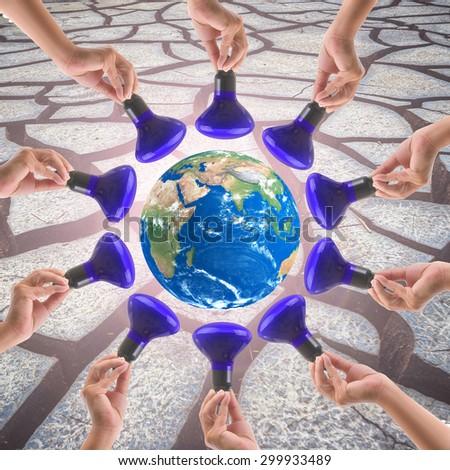 Energy saving reduce global warming. - stock photo