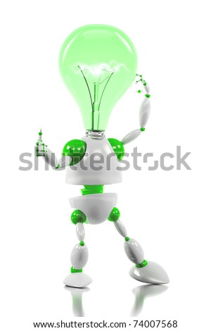 energy saving robot having a good idea concept /3d robot with light bulb for its head - stock photo