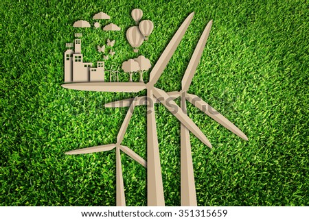 Energy saving. Save the world concept. Paper cut of eco on green grass. - stock photo