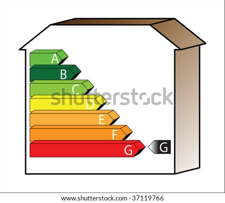 energy saving scale - ratings A to G - stock photo