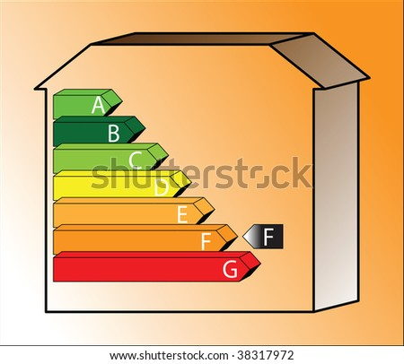 energy saving scale - ratings F - with shading - stock photo