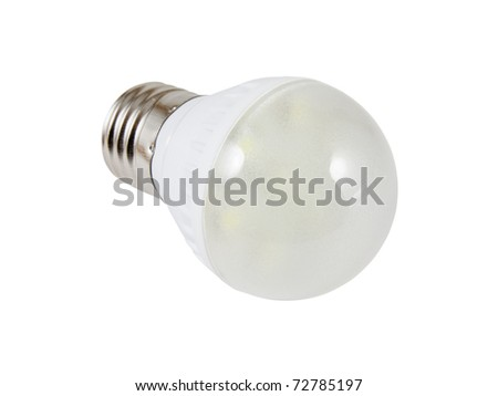 Energy saving SMD LED light bulb. Isolated on white background with clipping path. - stock photo