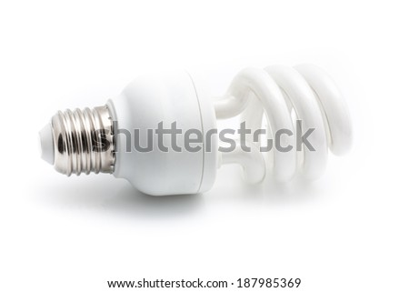 Energy saving white light bulb isolated on white background with shadow. - stock photo