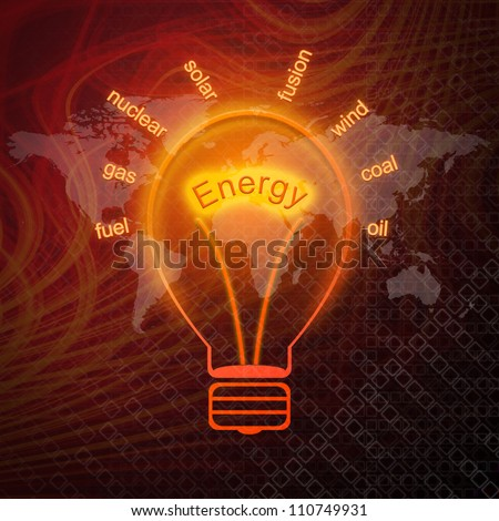 Energy sources in bulbs - stock photo