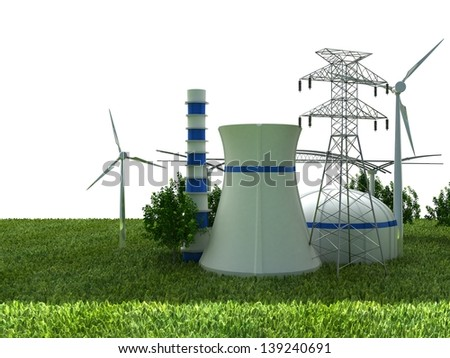 Energy Sources on the Green Earth - stock photo