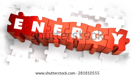 Energy - Text on Red Puzzles with White Background. 3D Render.  - stock photo