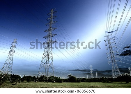 Energy tower with thunderbolt