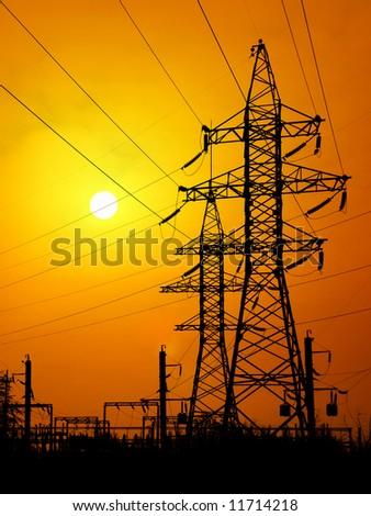 Energy towers. - stock photo