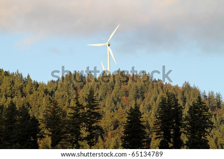 energy wind power mills in forest - stock photo