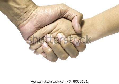 Enforce of shake hands - stock photo