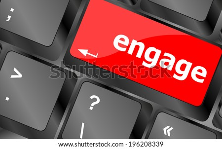 engage button on computer pc keyboard key - stock photo