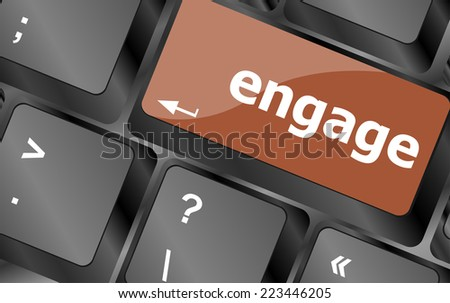 engage button on computer pc keyboard key - stock photo