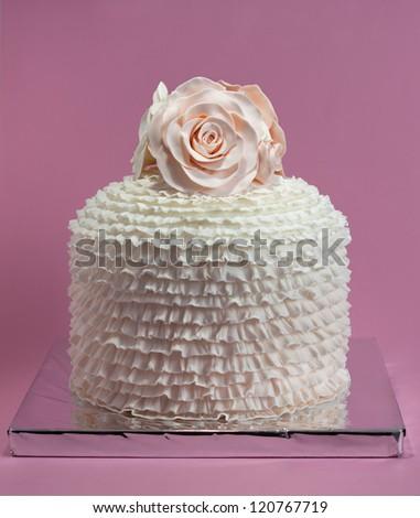 Engagement, birthday cake with roses - stock photo