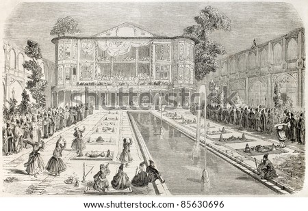 Engagement celebration between the Shah daughter and the son of Persian war minister. Created by Laurens after sketch of Duhousset, published on L'Illustration, Journal Universel, Paris, 1860 - stock photo