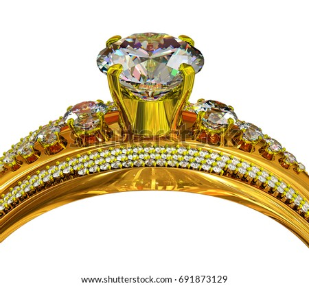 Engagement gold ring with gem. Cropped shot of luxury jewellery bijouterie with gemstone for people in love . Frontal view on isolated. 3D rendering.