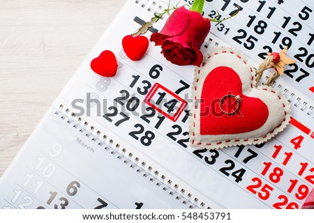 engagement ring, heart, calendar, February 14, a gift for Valentine's Day