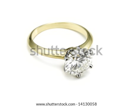 engagement ring lying down - stock photo
