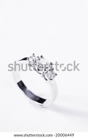 Engagement Ring on white background - stock photo