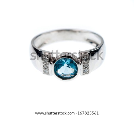 engagement ring with gem  - stock photo