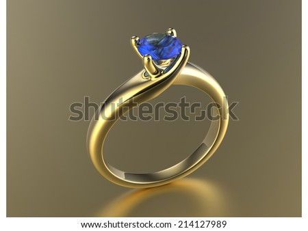 Engagement Ring with sapphire or moissanite. Jewelry background
