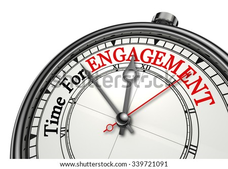Engagement time red word on concept clock, isolated on white background