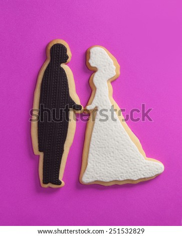 Engagement wedding cookies - stock photo