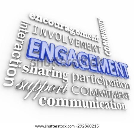 Engagment word in 3d letters with related terms such as interaction, participation, involvement, encouragement, community, support, communication and sharing - stock photo