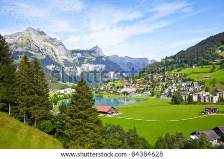 Engelberg village in Switzerland - stock photo