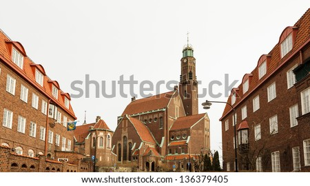 Engelbrekt Church, Stockholm, Sweden. The German school is visible to the left. - stock photo