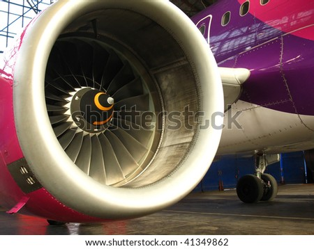 engine airplane standing in the hangar, airport Katowice Pyrzowice in Poland - stock photo