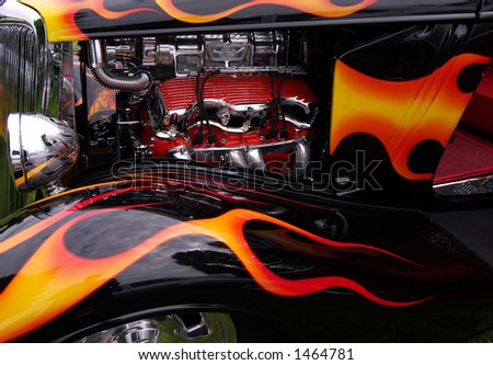 Engine and flames - stock photo
