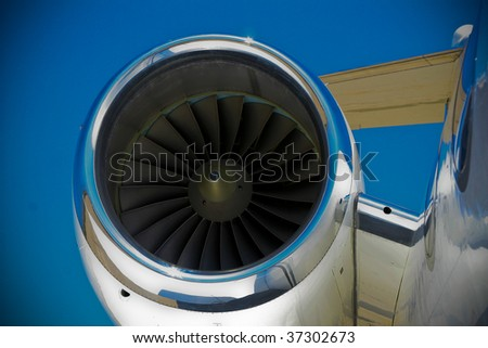 engine and housing on a private jet