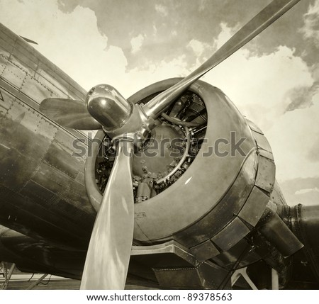 Engine and propeller closeup from retro airplane