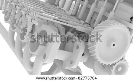 engine background V8 isolated on white 3d render