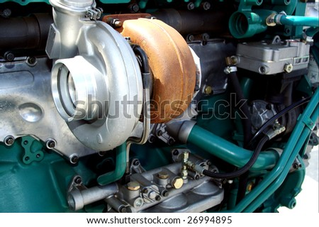 Engine close up - turbo charge turbine visible - stock photo